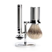 Muhle 3 piece Shaving Set, (R89 Safety Razor, RHM SR Set, 091M89 Badger Brush) Chrome